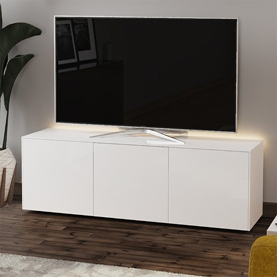 Intel Large LED TV Stand In White Gloss With Wireless Charging