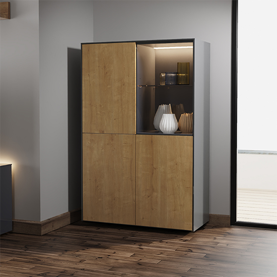 Intel LED Display Cabinet In Grey Gloss And Oak