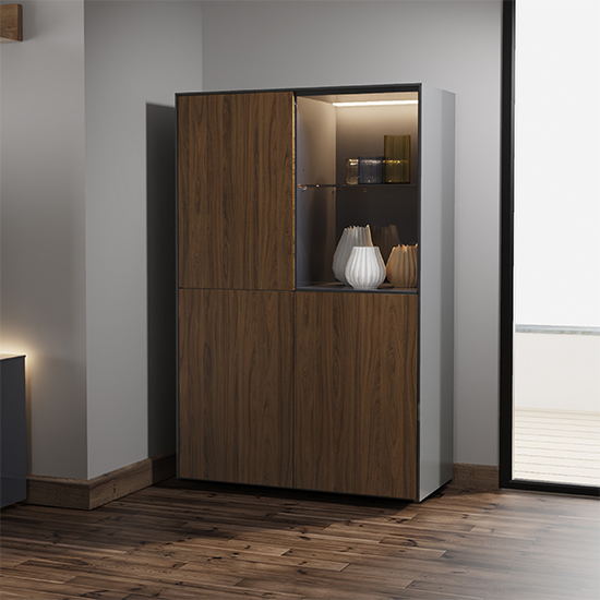 Intel LED Display Cabinet In Grey Gloss And Walnut