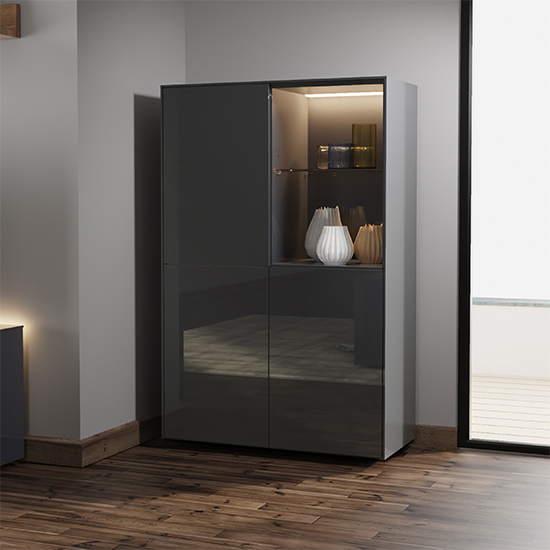 Intel LED Display Cabinet In Grey Gloss With Wireless Charging