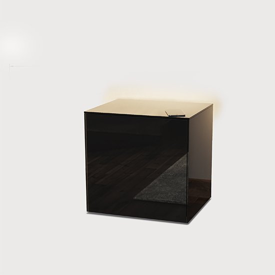 Intel LED Lamp Table In Black Gloss With Wireless Charging_2