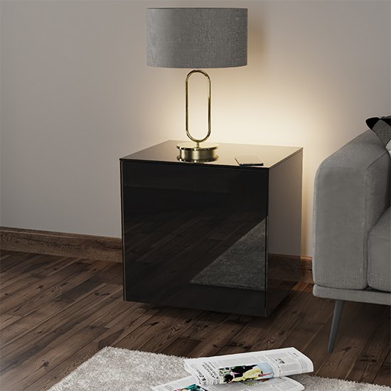 Intel LED Lamp Table In Black Gloss With Wireless Charging_1