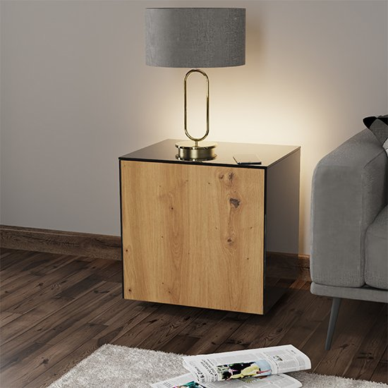 Intel LED Lamp Table In Black And Oak With Wireless Charging