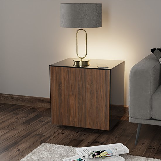Intel LED Lamp Table In Black And Walnut With Wireless Charging