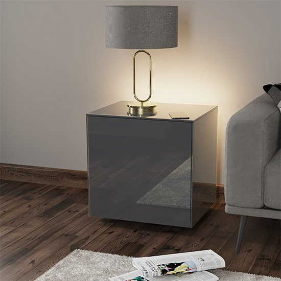 Intel LED Lamp Table In Grey Gloss With Wireless Charging