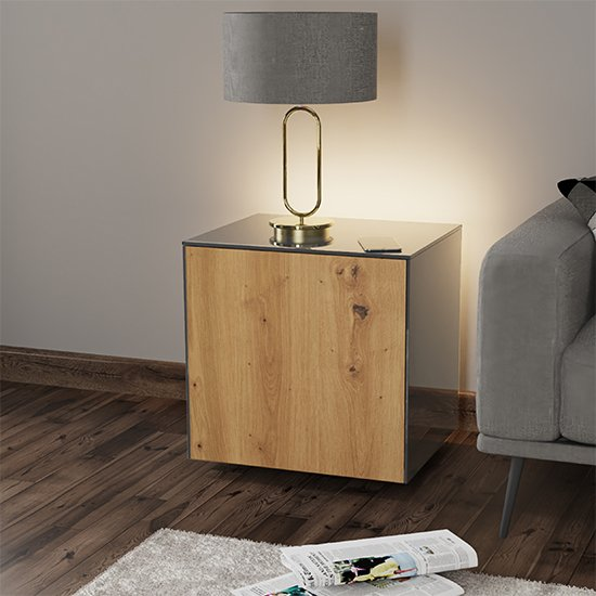 Intel LED Lamp Table In Grey And Oak With Wireless Charging
