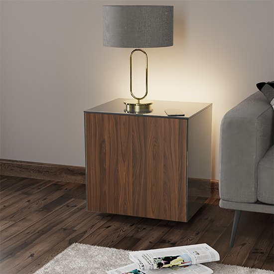 Intel LED Lamp Table In Grey And Walnut With Wireless Charging