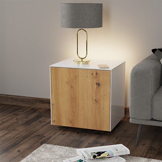 Intel LED Lamp Table In White And Oak With Wireless Charging