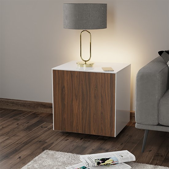 Intel LED Lamp Table In White And Walnut With Wireless Charging