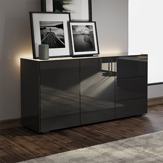 Intel LED Sideboard In Black Gloss With Wireless Charging