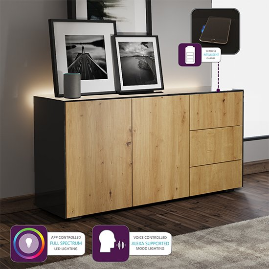 Intel LED Sideboard In Black And Oak With Wireless Charging_4