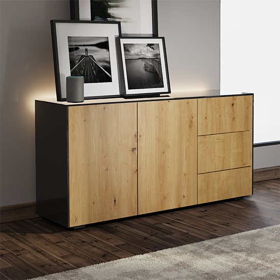 Intel LED Sideboard In Black And Oak With Wireless Charging_1