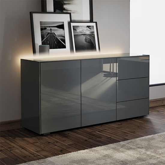 Intel LED Sideboard In Grey Gloss With Wireless Charging