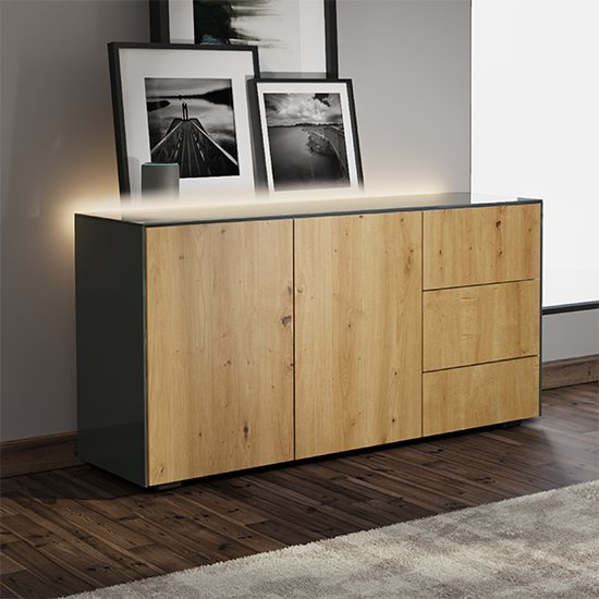Intel LED Sideboard In Grey And Oak With Wireless Charging