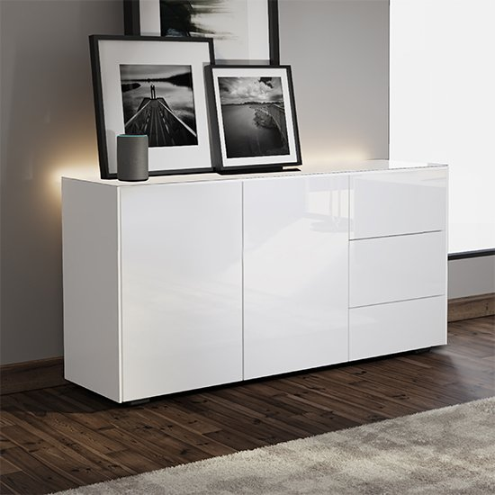 Intel LED Sideboard In White Gloss With Wireless Charging