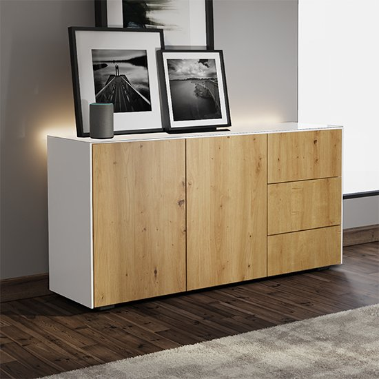 Intel LED Sideboard In White And Oak With Wireless Charging