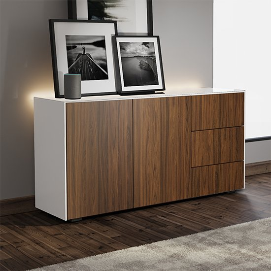 Intel LED Sideboard In White And Walnut With Wireless Charging