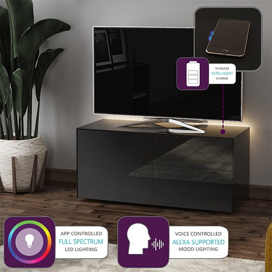 Intel LED TV Stand In Black Gloss With Wireless Charging_4