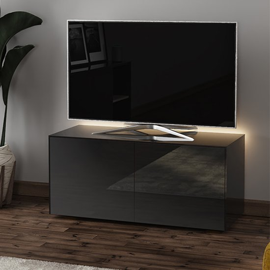 Intel LED TV Stand In Black Gloss With Wireless Charging