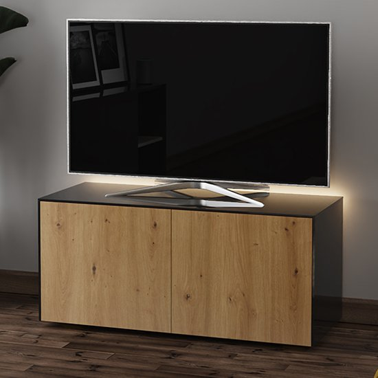 Product photograph showing Intel Led Tv Stand In Black And Oak With Wireless Charging