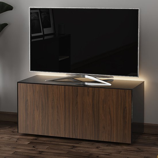 Product photograph showing Intel Led Tv Stand In Black And Walnut With Wireless Charging