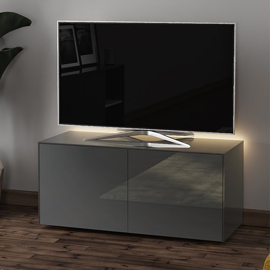 Intel LED TV Stand In Grey Gloss With Wireless Charging