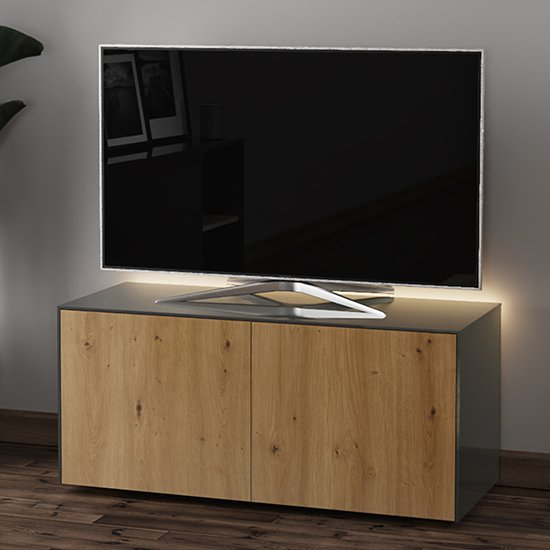 Product photograph showing Intel Led Tv Stand In Grey And Oak With Wireless Charging