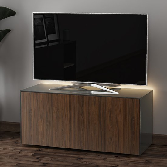 Intel LED TV Stand In Grey And Walnut With Wireless Charging_1