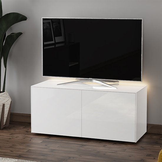 Intel LED TV Stand In White Gloss With Wireless Charging