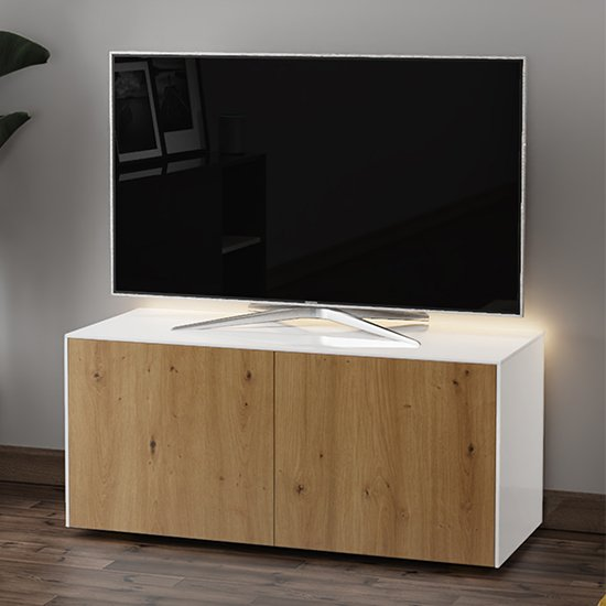 Intel LED TV Stand In White And Oak With Wireless Charging