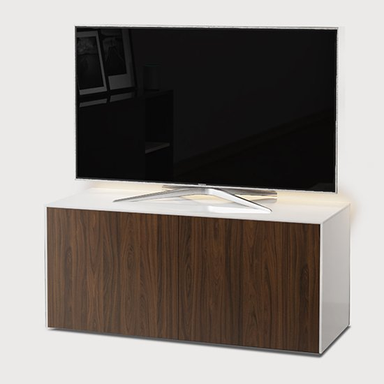 Intel LED TV Stand In White And Walnut With Wireless Charging_2