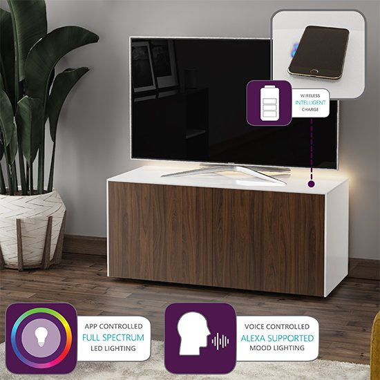 Intel LED TV Stand In White And Walnut With Wireless Charging_4