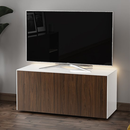 Product photograph showing Intel Led Tv Stand In White And Walnut With Wireless Charging