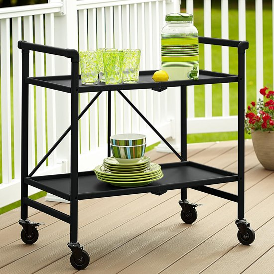 Intellifit Folding Drinks Trolley In Black With 2 Shelves