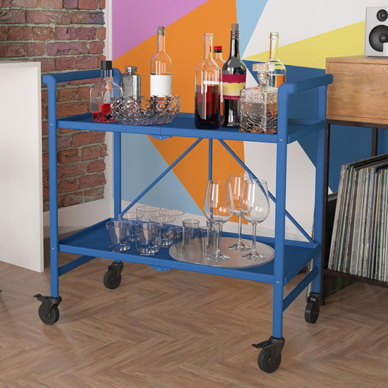 Intellifit Folding Drinks Trolley In Blue With 2 Shelves