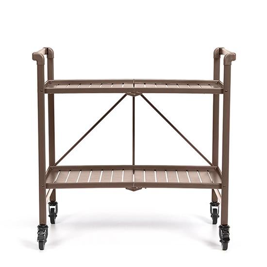 Intellifit Folding Drinks Trolley In Sandy Brown With 2 Shelves_3
