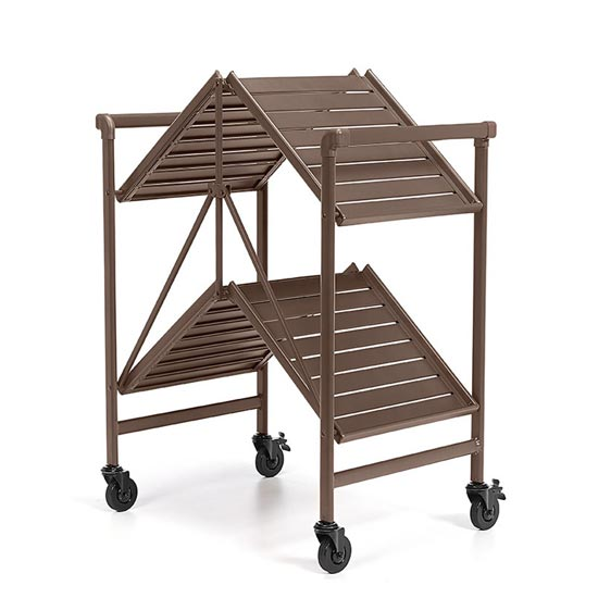 Intellifit Folding Drinks Trolley In Sandy Brown With 2 Shelves_4