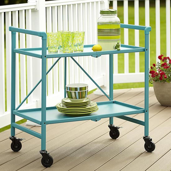 Intellifit Folding Drinks Trolley In Teal With 2 Shelves