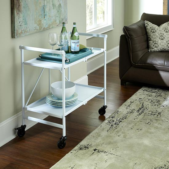 Intellifit Folding Drinks Trolley In White With 2 Shelves_2