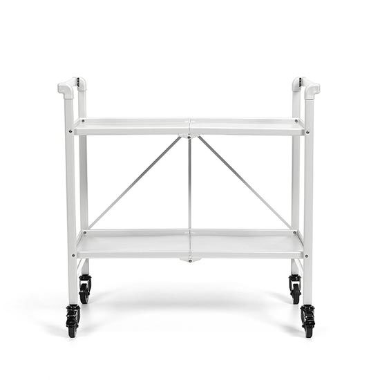 Intellifit Folding Drinks Trolley In White With 2 Shelves_3
