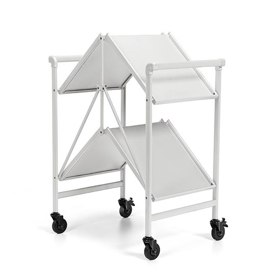 Intellifit Folding Drinks Trolley In White With 2 Shelves_4