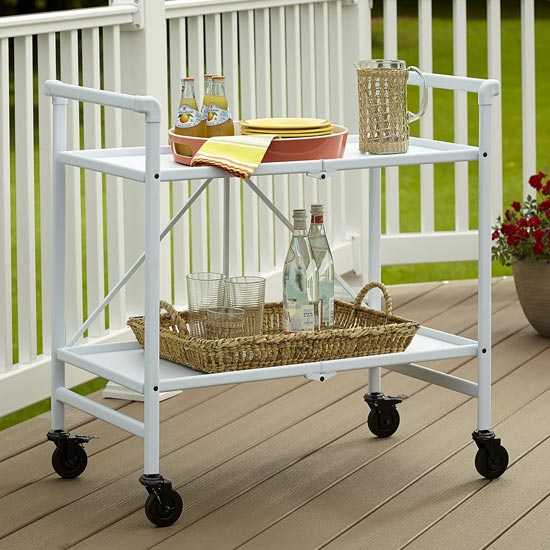 Intellifit Folding Drinks Trolley In White With 2 Shelves