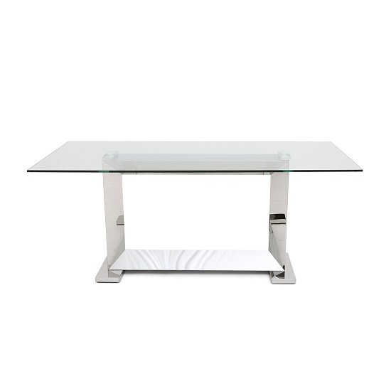 Invictus Glass Dining Table In Clear With Stainless Steel Base