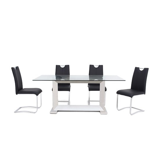Invictus Glass Dining Table In Clear With 6 Caleb Black Chairs