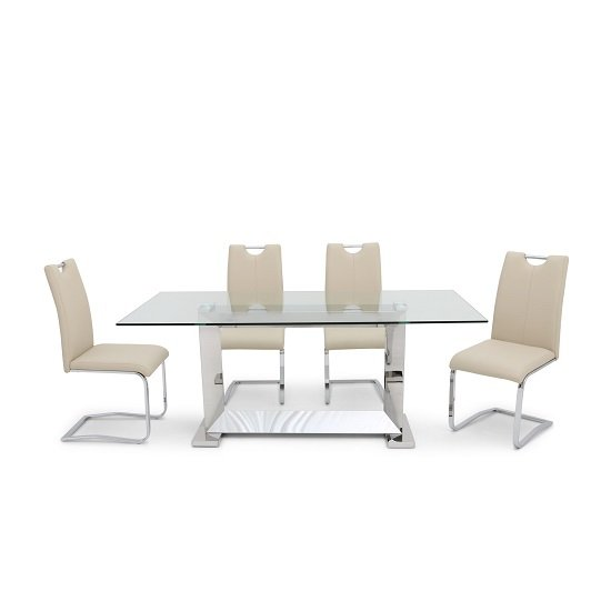 Invictus Glass Dining Table In Clear With 6 Caleb Cream Chairs