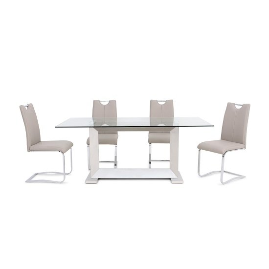 Invictus Glass Dining Table In Clear With 6 Caleb Taupe Chairs