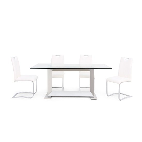 Invictus Glass Dining Table In Clear With 6 Caleb White Chairs