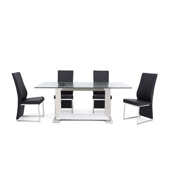 Invictus Glass Dining Table In Clear With 6 Riga Black Chairs