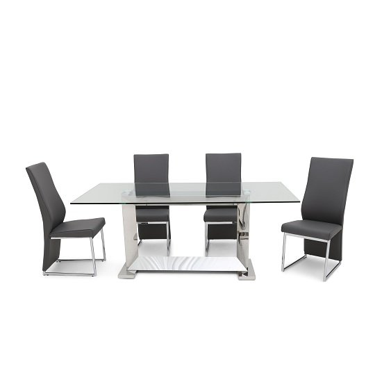 Invictus Glass Dining Table In Clear With 6 Riga Grey Chairs