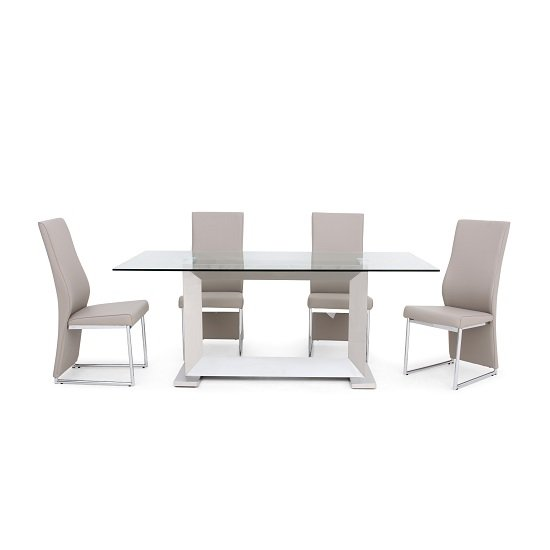 Invictus Glass Dining Table In Clear With 6 Riga Taupe Chairs